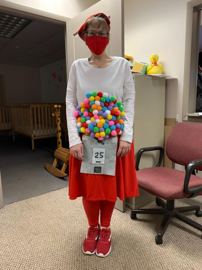 Kathryn the Gumball Machine at Halloween